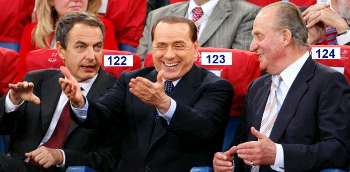 Silvio Berlusconi sitting in seat number 123