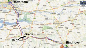 Car route from Eindhoven to Rotterdam